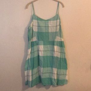 Green and white checkered sundress